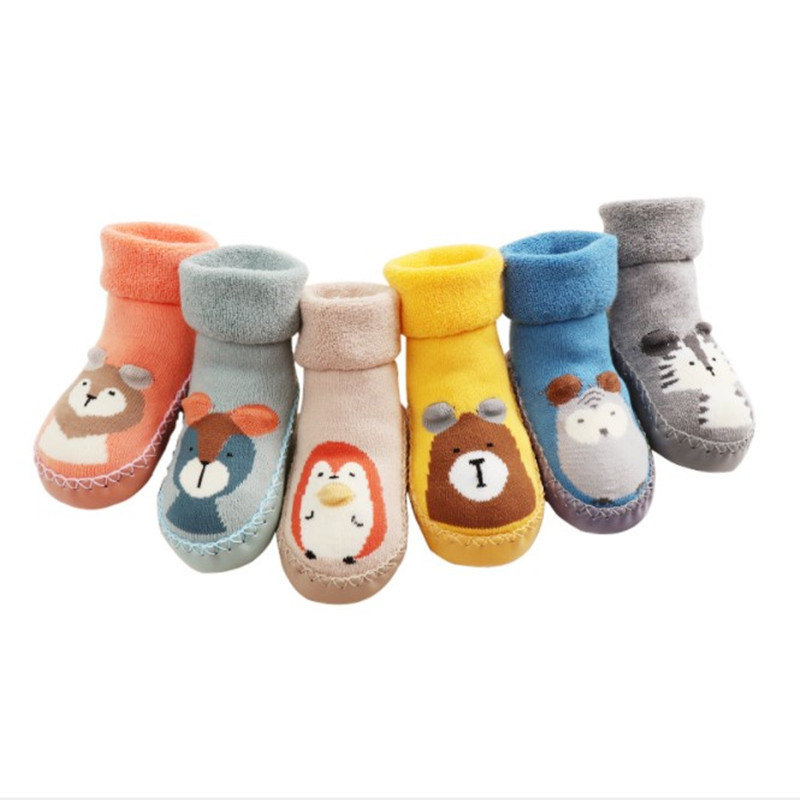 Infant Socks Baby Socks Rubber Soles Home Slippers Baby Boy Rubber Soled Socks Toddler Girl Walker Warm Winter Baby Socks Terry