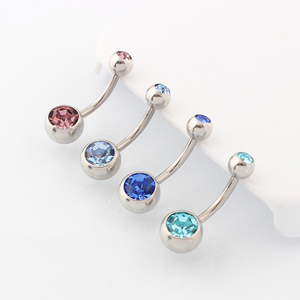 Image 4 - Medische Staal (100 Stuks/partij) buik Navel Button Rings Body Piercing Sieraden Groothandel 14G Chirurgisch Staal Met Dubbel Kristal
