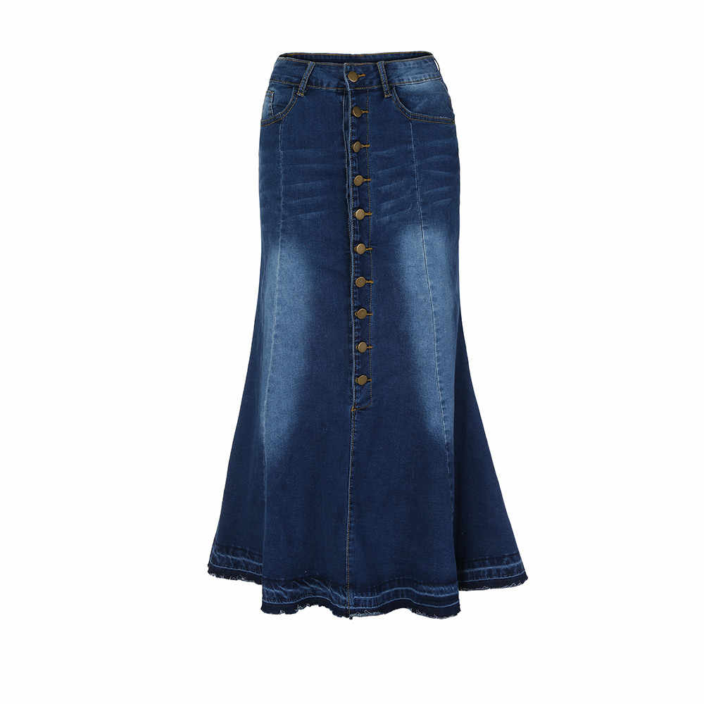 61339bca06 ... S-XL NEW Casual Long High Waist Fishtail Denim Maxi Women's Fashion  Button Pocket Front ...