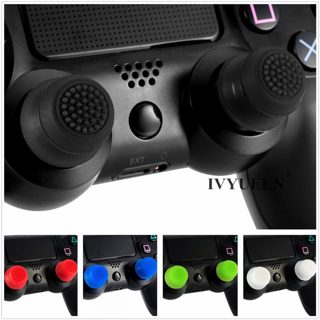 IVYUEEN 2 pcs Silicone Analog Grip Thumbstick Thumb Sticks Extra Cover High Enhancements For Dualshock 4 PS4 Pro Slim Controller 4