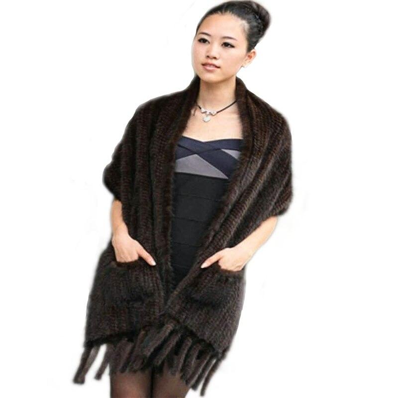 Foulards oblongs écharpes en tricot fourrure de vison écharpe vison vison Baojin