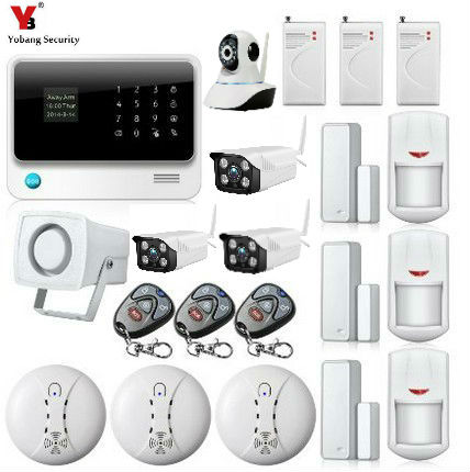 Yobang Security GSM/WIFI/GPRS Alarm Wireless Home Security Camera Alarm Systems Built-in battery Sensor Detector Alarm Kits