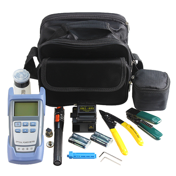 wholesale Fiber Optic FTTH Tool Kit with 60S Fiber Cleaver and Optical Power Meter 10Mw Visual Fault Locator Wire stripper