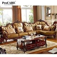 Classic Luxury European Style Solid Wood Armrest Leather Wooden Leather Corner Sofa Set
