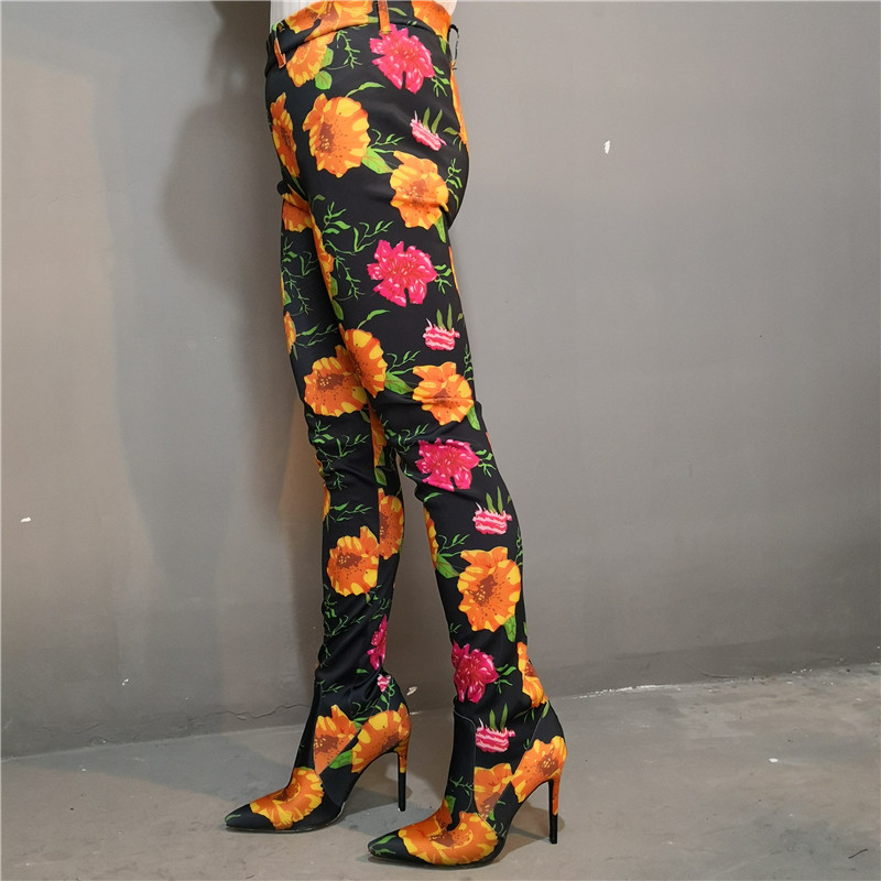 New Female Floral Overknee Boots Cuts Women 39 s Large Size Shoes Stiletto Thin High Heel Elastic Sock Boots Two In One Pants Boots in Over the Knee Boots from Shoes