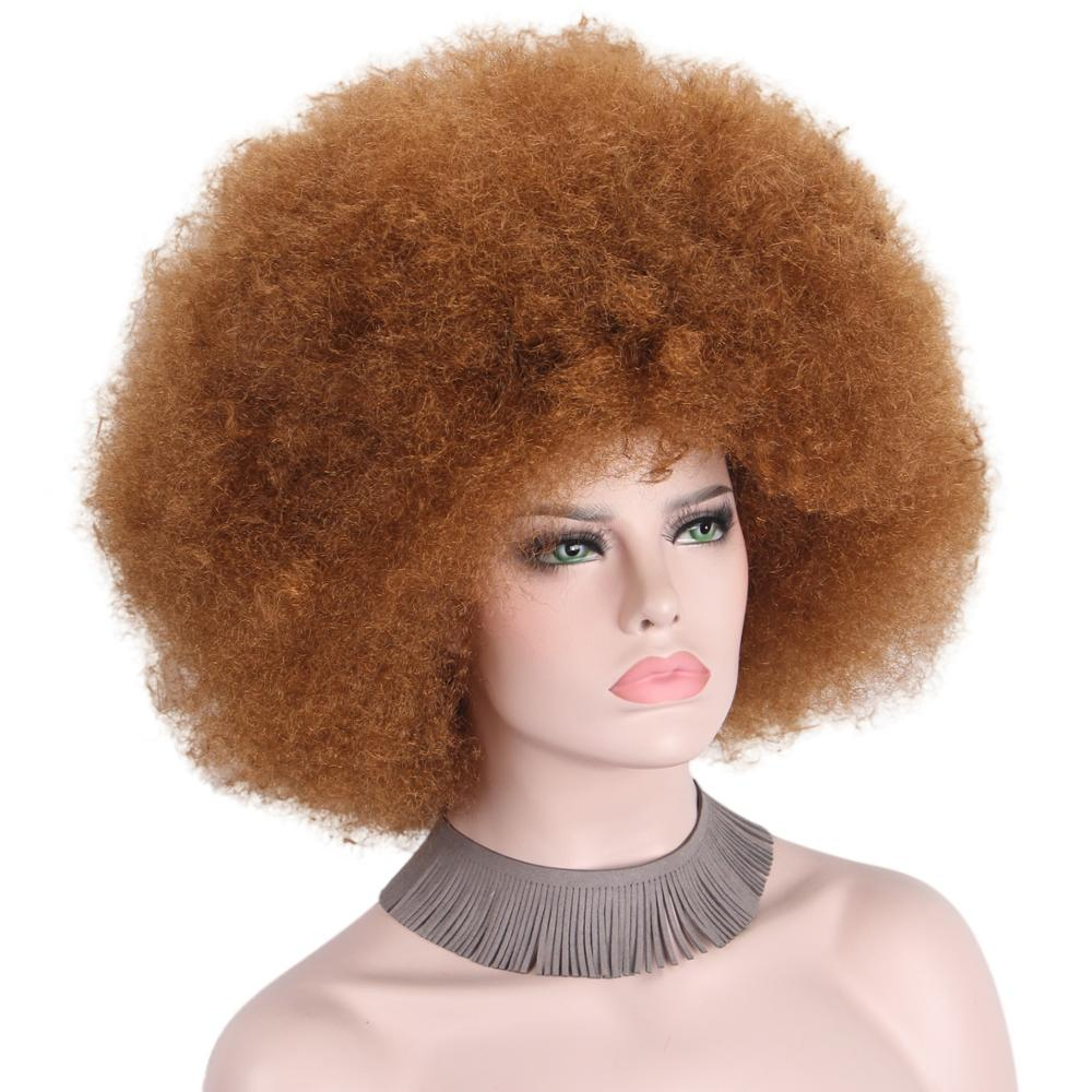 Afro Brown Wig Cap Big Top Football Fans Wigs For Adults Unisex None Lace Wigs Synthetic Hair For Black Women Men Cosplay