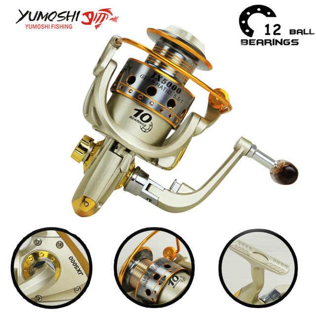 Yumoshi 1000-7000 12BB الكارب الغزل بكرة عجلة الصيد بكرات المغذية المعادن الصيد بكرات (2000)