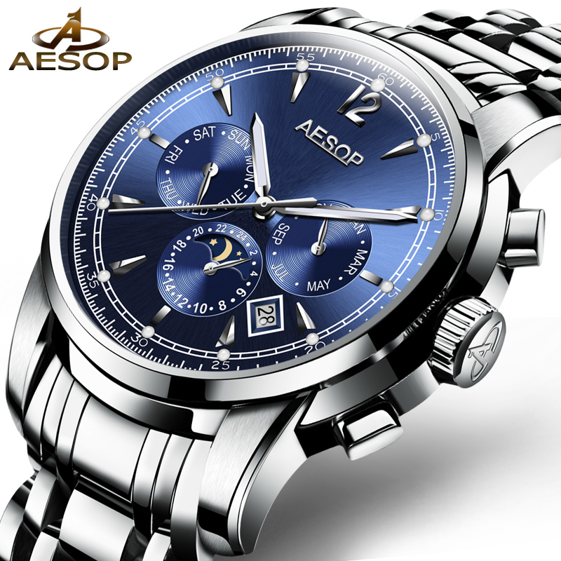 AESOP Watch Men Automatic Mechanical Wristwatch Calendar Waterproof Multifunction Full Steel Male Clock Relogio Masculino Box 27 2017 new full steel automatic watch binger casual fashion wristwatch with gold calendar man business hours clock relogio reloj