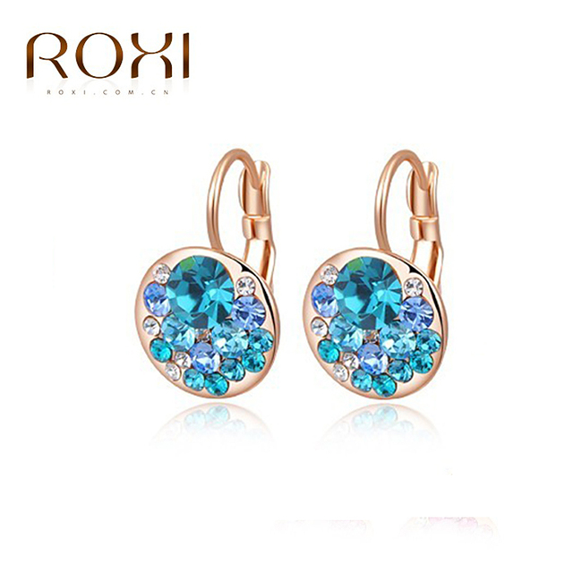 ROXI Brand Top Quality Earrrings For Women Rose Gold White Gold Plated Stud Earrings Fashion Jewelry for New Year Christmas Gift