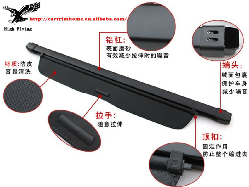 High Quality Aluminum Canvas Black Rear Cargo Cover Fit