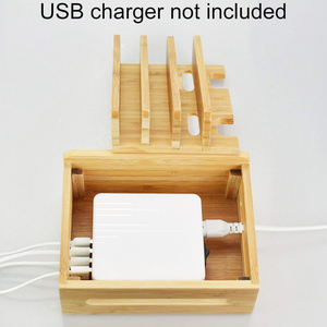 Image 5 - Bamboo Holder for iPhone XR 8 11Pro Stand for Samsung Cords Charging Station Docks Organizer for SmartPhone Tablets USB Charger