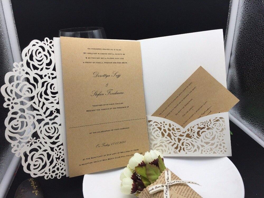 Laser Cut Out Wedding Invitations: 1pcs Sample Graceful Rose Flowers Trifold Laser Cut Pocket