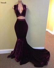 Real Sample Mermaid V-neck Sleeveless African Black Girl Purple Velvet Two Piece Long Prom Dresses 2019