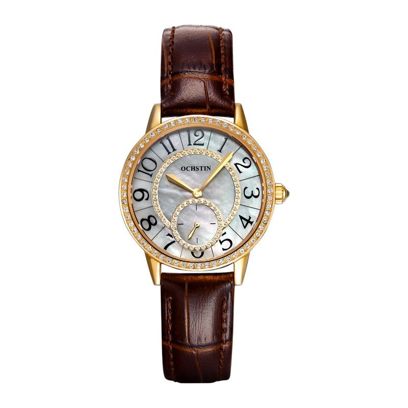 ФОТО OCHSTIN Fashion Women Dress Watch With Leather Straps Geneva Women Watches Waterproof Simple Temperament Ladies Watches