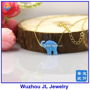 (1pclot) Trendy OP06 Light Blue Synthetic 12*14mm Elephant Opal pendant  925 Sterling Gold chain necklace For Sale Online