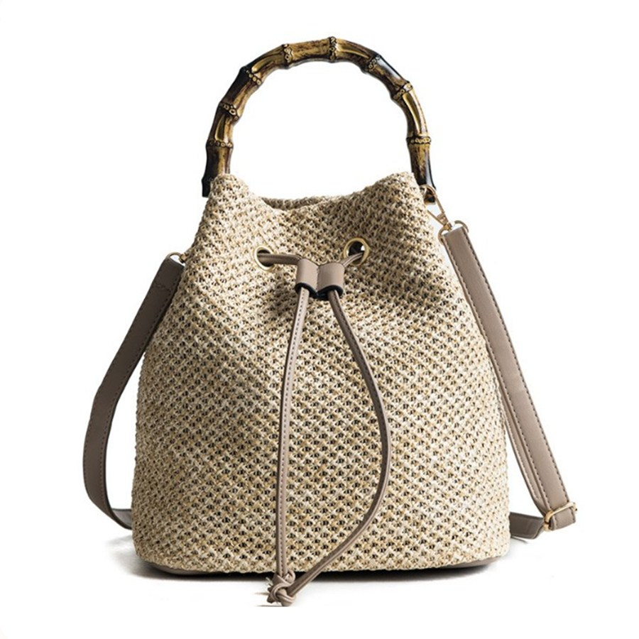 Fashion Beach String Women Bucket Bags Female Summer Knitting Straw Bags Casual Holiday Crossbody Bag Bamboo Handle Handbags summer straw beach bag women circle ring handbags female string waterproof casual big tote ladies messenger bags for vocation