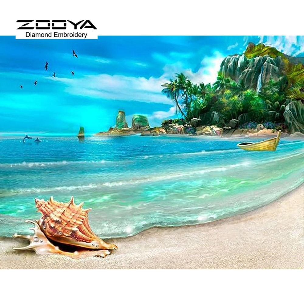 ZOOYA ZOOYA Store 3D Diamond Painting Cross Stitch Landscape Beach Rhinestones Crystal Needlework Diamond Embroidery Full Diamond Decorative BJ499