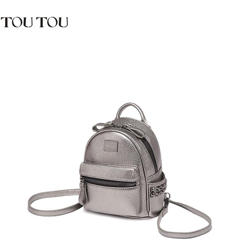 ФОТО A1601 2017  brand designer women rivet backpack pu leather  backpack female school bags famale college schoolbag sac de marque