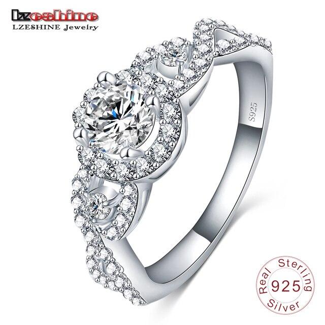 LZESHINE выгравировать имя Бесплатная 2017 Новая коллекция 925 стерлингового серебра Блестящий stackable Ring Clear CZ кольцо Fine Jewelry anillos