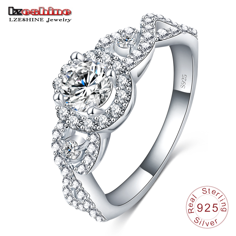 LZESHINE Brand 2016 New Collection 925 Sterling Silver Brilliant Stackable Ring Clear CZ Ring Fine Jewelry