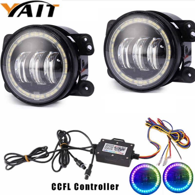 Yait 2pcs 4 Inch 30W Led Fog Lights with RGB Halo Ring For Jeep wrangler JK TJ LJ Dodge jersey / Magnum Off Road Fog Lamps 2pcs 4inch round led fog lights 30w 6000k white halo ring drl off road fog lamps for jeep wrangler jk tj lj dodge journey