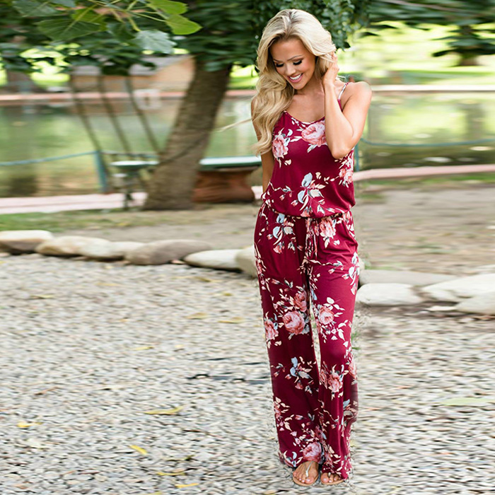 Women Oversized 3XL Print Long Loose Jumpsuits Casual Rompers Off Shoulder Mid Waist Sexy  Summer Jumpsuit For Female Women