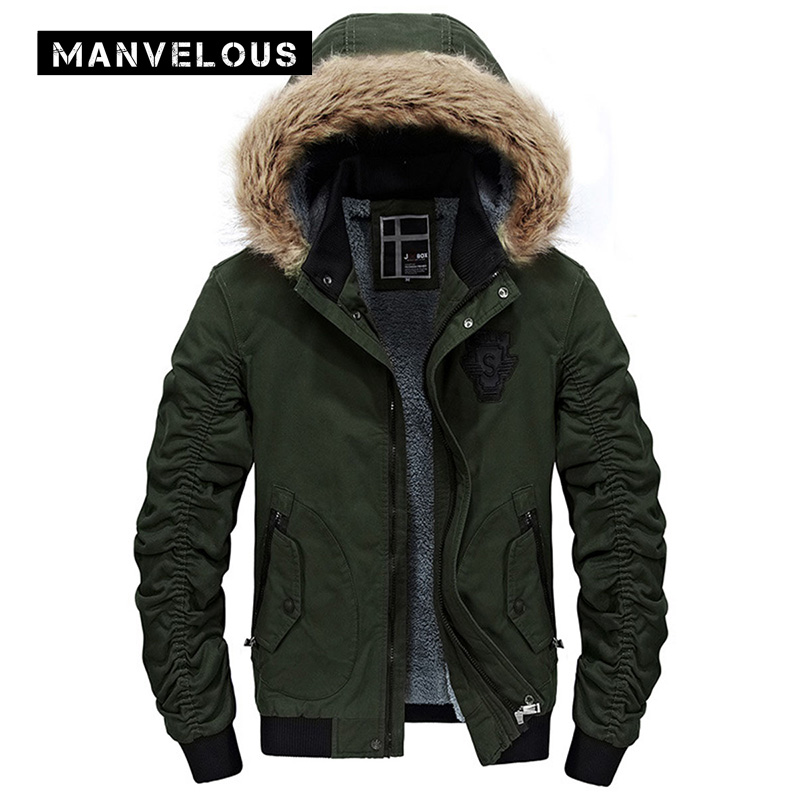 Manvelous Jacket Mens Fashion Casual Straight Zipper Solid Pleated Pocket Polyester Army Green Mens Winter Parkas Jackets Coats frico p21