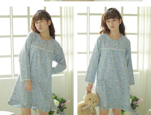 Primavera/Outono de Algodão Lixado Flanela Camisola Floral/Sleepshirts Com Mangas Compridas/Tamanho Grande Para Senhoras Em Japonês estilo
