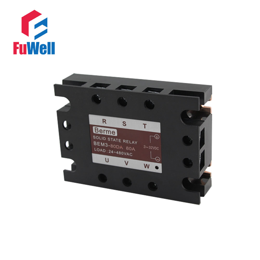 3-phase Solid State Relay SSR DC-AC 80DA normally open single phase solid state relay ssr mgr 1 d48120 120a control dc ac 24 480v