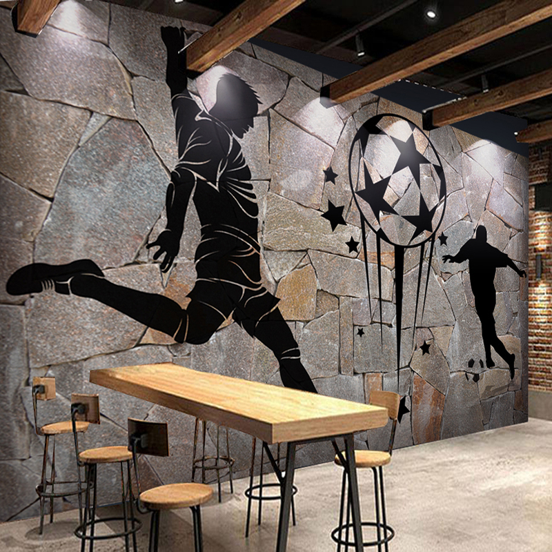 Custom 3D Photo Wallpaper Retro Nostalgia Soccer Stone Grain 3D Bar KTV Tooling Room Background Wall Decor Mural Papel De Parede