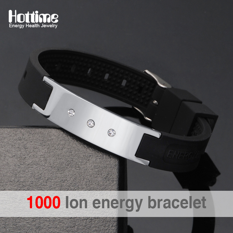 Black Power Energy Hologram Bracelets Wristbands Keep Balance Ion Magnetic Therapy Fashion Silicone Bands Free Shipping