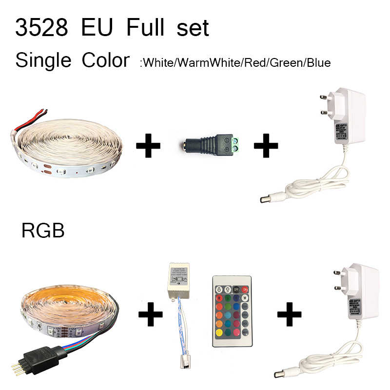 Tira de luz Led de 5 M 3528 DC12V 60led/m cinta de luz Led Flexible impermeable RGB blanco cálido blanco azul verde rojo