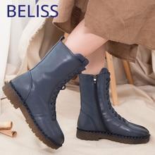 Купить с кэшбэком BELISS winter boots women 2018 fashion soft genuine leather warm wool snow boots platform woman mid calf waterproof B46