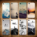 Funda paisaje para Iphone 7 8 6 6 s Plus montañas bambú mar ciervo gato naturaleza vista cubierta trasera dura para Iphone7 7 plus