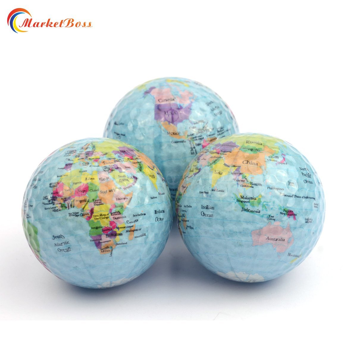 MarketBoss 3pcs World Earth Globe Golf Ball Gift World Map Occasion Practice Trainning Golf Ball