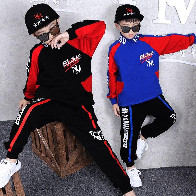 Kids Tracksuit Spring Big Boys Clothing Set Turtleneck Tops Haren Pants Children hip hop Costumes 6 8 10 12 Years