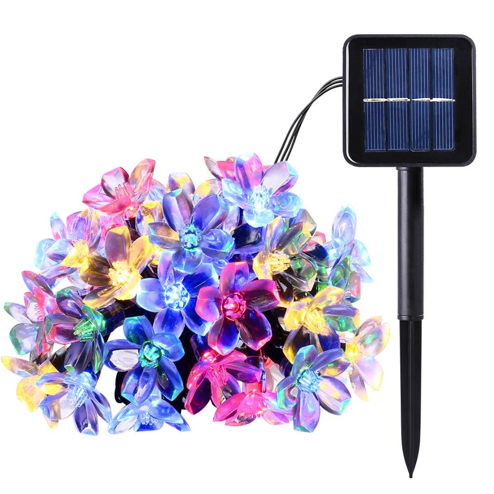 Nouveau 50 LED 7 M Pêche Ledertek Fleur Solaire Puissance De La Lampe LED Cordes Guirlande lumineuse Solaire Guirlandes Jardin De Noël Décor Pour en plein air