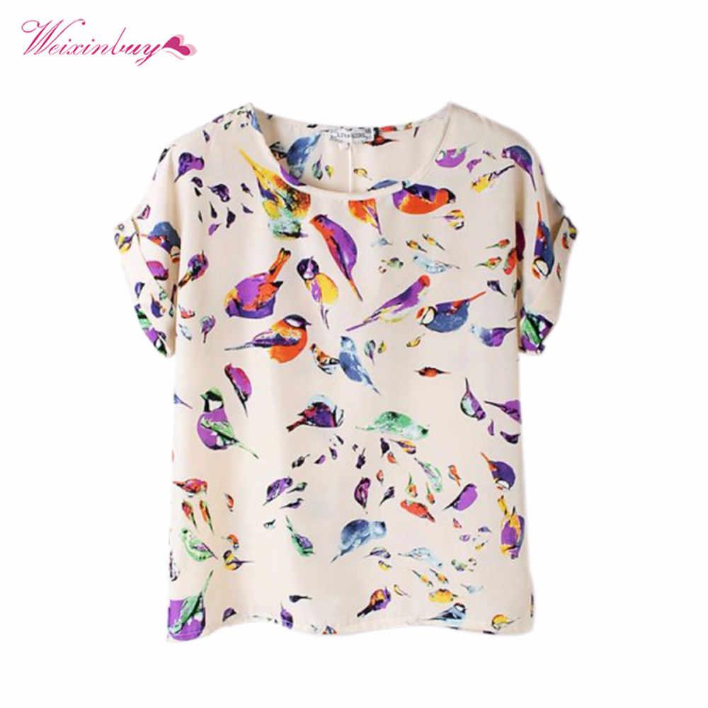 2019 Zomer Vrouwen Korte Mouw Tops Blouse Mode Vrouwelijke Lady O-hals Shirt Kleurrijke Shirts Losse Chiffon Blouse Tops 15 Stijlen