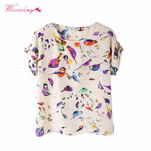 2019 Summer Women Short Sleeve Tops Blouse Fashion Female Lady O-Neck Shirt Colorful Shirts Loose Chiffon Blouse Tops 15 Styles(China)