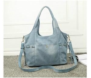 Image 3 - Женская джинсовая сумка на плечо Rdywbu, Новая Модная Джинсовая Высококачественная дорожная сумка через плечо, большая сумка тоут, сумка, сумка, B725