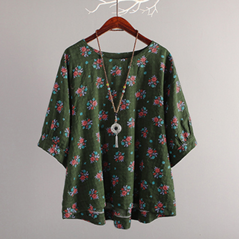 1ae1186c95df Plus Size Tops Womens Shirts Streetwear Spring Blouse Casual Loose Bohemian  Style Print Cotton Linen Shirt
