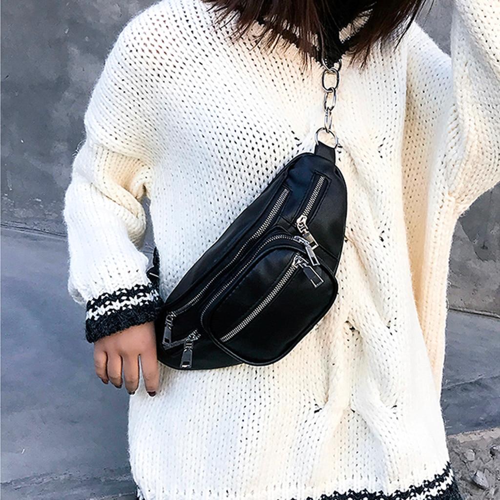 поясная сумка PU Leather Waist Packs Women Portable Chest Bags Mini Shoulder Bag Phone Purse Chain Strap Pack сумка женская