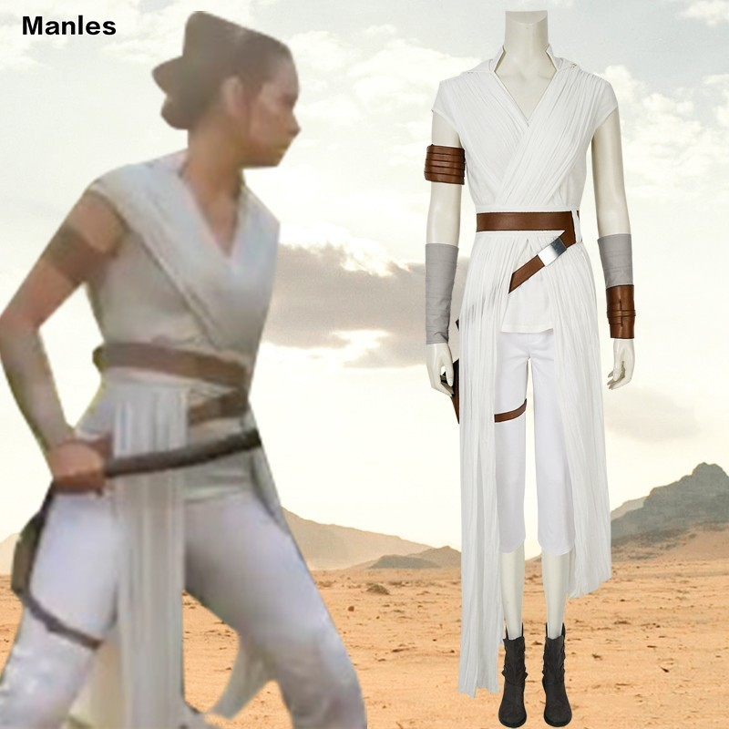 Rey Cosplay Star Wars 9 The Rise Of Skywalker Costume Star Wars White Adult Women Movie Superhero Halloween Boots Belt Fancy Aliexpress