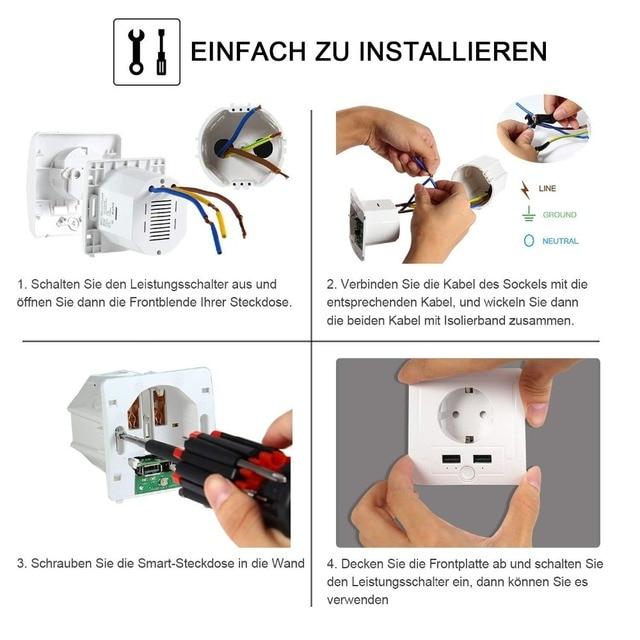 Enchufe WiFi de pared Compatible con Alexa, 2 puertos de carga USB, enchufe inteligente de 15A, Control de aplicación remota inteligente IFTTT 5