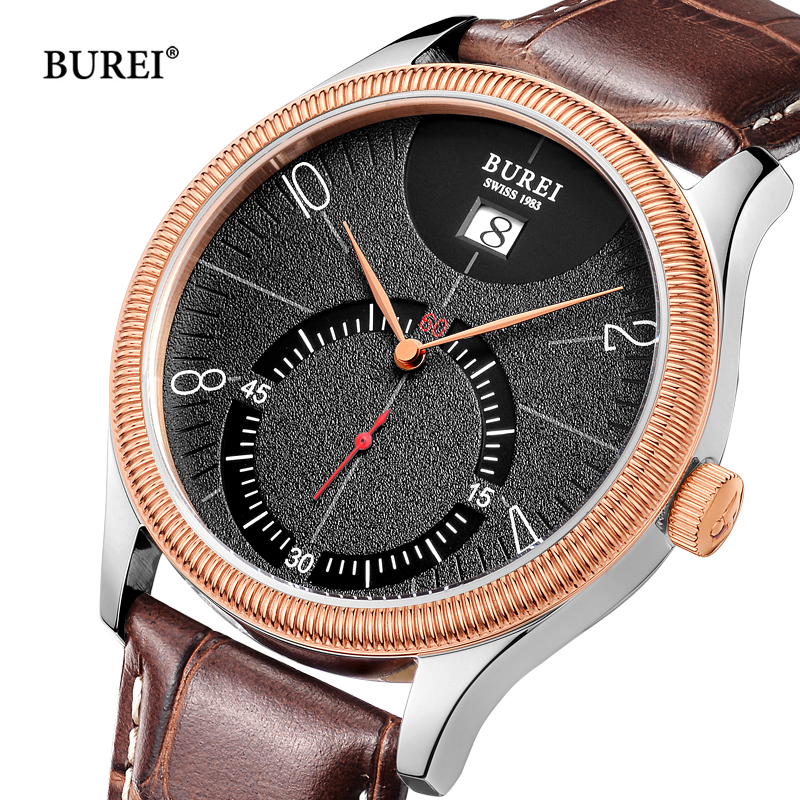 Reloj Hombre BUREI Mens Watches Top Brand Luxury Watch Men Rose Gold Leather Quartz Wrist Watch Man Clock Saat Relogio Masculino цена