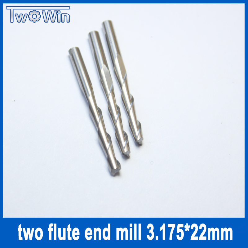 10pcs/set 3.175*22mm Two Flute Ballnose Cutter CNC Ballnose Endmills Cutter Milling Free Shipping