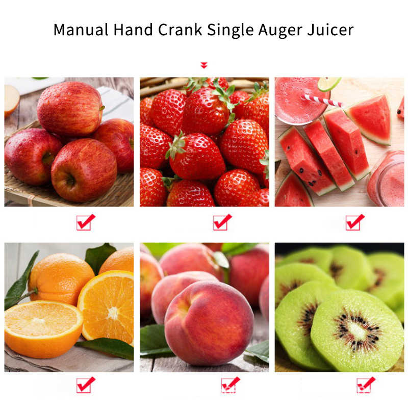 New Multifuctional Healthy Manual Hand Crank Single Auger Juicer with Suction Base Hand Juicer for Wheatgrass Fruit Vegetable