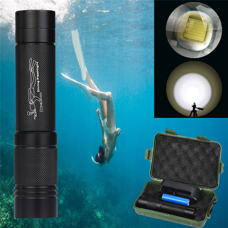 B2 Bicycle Light 100m Waterproof XMLT6 LED Diving Scuba Flashlight Torch 18650+Charger Camping & Hiking Hunting