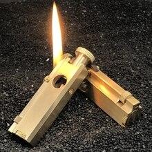 Handmade Retro Brass oil lighter pipe cigarette gasoline lighter
