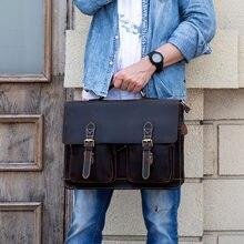 b7ae4a167b5e Ретро Crazy Horse кожа человек портфели сумка пояса из натуральной кожи  мужской 16 дюймов ноутбука бизнес